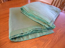"PAIR Matching Vtg Wool Blankets 74""x62"" GREEN Great Condition, TWIN SIZE"