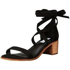 $80 Size 5.5 Steve Madden Rizzaa Black Suede Ankle Strap Heel Womens Sandals NEW