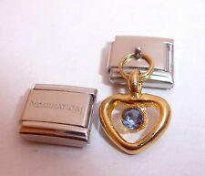 GOLD HEART BLUE GEM 9mm Italian Charm + 1x Genuine Nomination Classic Link LOVE