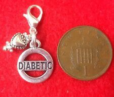 Diabetic Diabetes Medical Alert Silver Dangly Charm For Bracelet Keys or Handbag