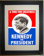 John F. Kennedy JFK reprint 1960 Campaign Poster Framed Photo Picture