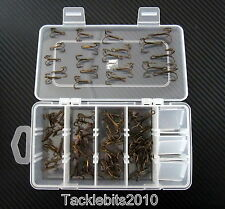 TREBLE HOOKS FISHING SIZE 2 4 6 8 BRONZED BARBED SEA PIKE AND GAME BOXED 100