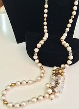 """Opera Length 28"""" Vintage Miriam Haskell Swag Necklace~Pearls/Gold/Crystal Beads"""