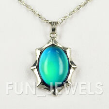 New Trendy Multi Color Changing Oval Stone Mood Necklace Free Chart Retro