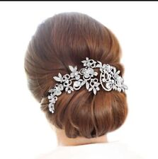 Bridesmaid Bridal Wedding Silver Austrian Crystal Swiss Cut Diamond Hair Comb