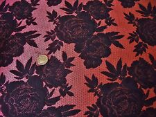 FRENCH SOFT SUITING  FLORAL JACQUARD-SALMON PINK/BLACK -DRESS FABRIC-FREE P&P
