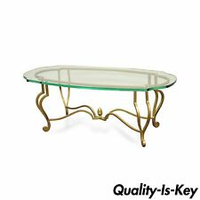 Vintage Hollywood Regency Italian Style Scrolling Iron Glass Gold Coffee Table