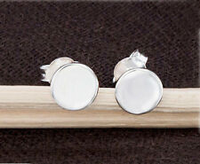 925 Sterling Silver Tiny Circle Disc Stud Earrings 6mm.Polish Finished.