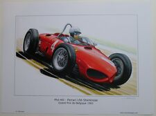 POSTER ARTWORK PRINT / DESSINS F1 FERRARI 156 HILL  30 x 40 cm by CLOVIS