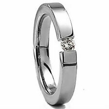 Titanium 5mm Women's TENSION RING with Round 4mm CZ in size 8 -NEW-
