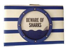 NWT KATE SPADE Emanuelle Make A Splash Beware Of Sharks Clutch $249 WKRU3808
