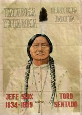 FULL COLOR ANTIQUE POSTER OF LEGENDARY SIOUX CHIEF SITTING BULL Printed in Spain