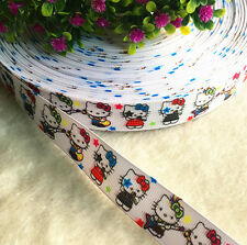 "5y Printed Grosgrain Ribbon 7/8"" Picture Hello Kitty Hair Bow DIY Sewing Craft"