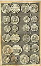 """""""Medals of K. William and Q. Mary"""" from Rapin's HISTORY OF ENGLAND  Pl. X -1745"""