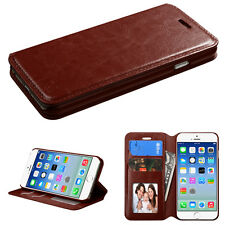 Brown Leather Flip Wallet Card Holder Cover Phone Case Apple iPhone 6 6s