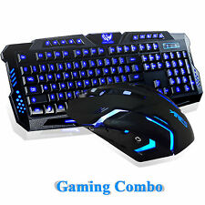 Illuminated LED Backlight USB Wired Gaming Keyboard Mouse Multimedia PC Combo