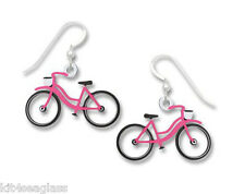 Sienna Sky Pink & White BICYCLE EARRINGS Ladies Bike Sterling Vintage Gift Boxed