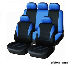 9 PCS FULL BLUE FABRIC CAR SEAT COVERS SET PEUGEOT 106 205 206 207 306 307 407