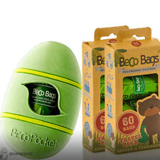 Beco Pocket - Green & Beco Eco Friendly Dog Poop Bags - 60 Travelpack x 2 Set
