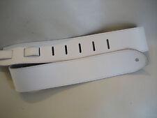 UNIQUE LEATHER WHITE GUITAR/BASS STRAP