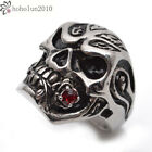 Stainless Steel Silver Black Red Crystal Skull Mens Ring Size 9 - 14