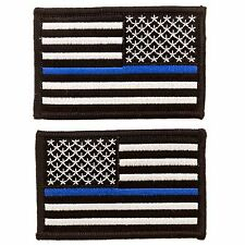 """2 Pack Tactical US Flag Thin Blue Line Police Embroidered patch 2"""" X 3"""""""
