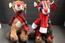 """2RUDOLPH THE RED NOSE REINDEER Soft Plaid Plush with Scarf New With Tags11"""" RARE"""