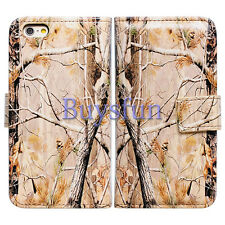 Bcov Camo Tree Card Slot Wallet Leather Cover Case For Apple iPhone 6 Plus