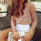 Fashion Women Ladies Chiffon Lace Crochet Long Sleeve Shirt Casual Blouse Tops