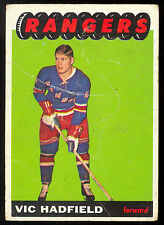 1965 66 TOPPS HOCKEY #27 VIC HADFIELD VG NEW YORK N Y RANGERS CARD