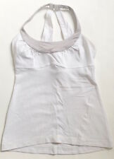 LULULEMON Scoop Me Up Tank Top White w Silver size 4 Yoga Gym Spin Fun
