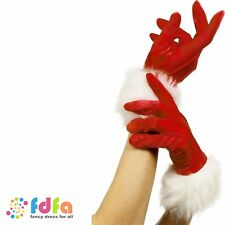 SHORT RED SANTA GLOVES VELVET MRS CLAUS GLOVES ladies womens xmas fancy dress