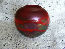 Phoenician  Red  Iridescent  Heavy Squat Triangular Vase  Signed On Base Ht . 5""