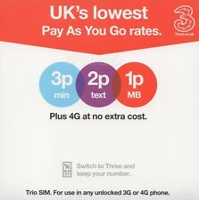 Three UK Pay As You Go SIM Card With £20 Credit Preloaded.