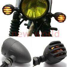 4X Motorcycle Amber 12V Bullet CNC Turn Signals Lights For Harley Chopper Bobber