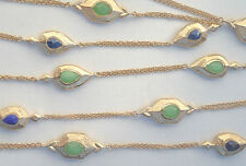 NEW $495 Melinda Maria Gold-plated Necklace Blue Lapis Green Chrysoprase 52 Long