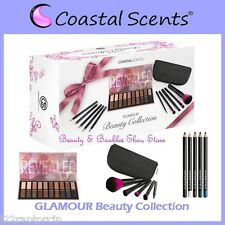 NEW Coastal Scents GLAMOUR Gift Set-FREE SHIPPING Revealed Palette/Fuchsia Brush