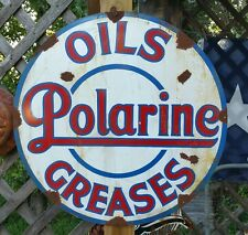 "Antique Vintage Old Look Polarine Oil Greases Sign Rusted Porcelain Look 24""!"