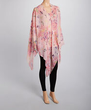 Ladies summer poncho lightweight pink butterfly print or coverup