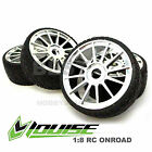 4 x LOUISE 1/8 RC CAR BUGGY ON ROAD SPORT TYRES & WHEELS CHROME KYOSHO HSP HOBAO