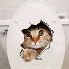 Fun 3D View Hole Vivid Cats Wall Sticker Bathroom Toilet Home Decoration Sticker
