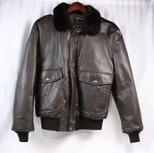 COOPER Vintage 70s G-1 Brown Leather Bomber Shearling Collar Jacket Coat Men 44