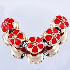 5Pcs Yellow Gold Filled Charms Red Enamel Beads Fit European Bracelet