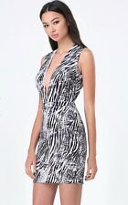 BEBE SCUBA PLUNGE NECK ZEBRA PRINTED DRESS NWT NEW $119 SMALL S