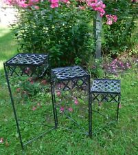 Vintage metal folding plant stand  Daisy Style medallions