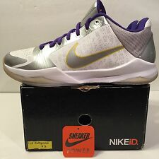 Nike Zoom Kobe Bryant V 5 Sz 12 Kid Hollywood ID White Purple Black 81 IV I Vi X