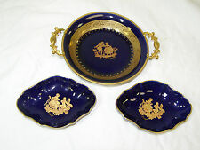 Vintage Limoges Castel & Baranti or Veritable Cobalt Blue & Gold Trinket Dish