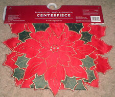 "Winter Poinsettia Christmas Winter Holiday Table Centerpiece 31"" x 15"""