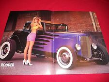 vintage American Rodder color centerfold pin up 1932 Ford coupe five window HOT!