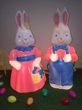 "New Set of 26"" Mr. & Mrs. Easter Bunny Lighted Blow Mold Yard Decorations"